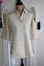 BNWT Womens Max Mara Beige Silk Blend Collared Tunic Shirt 8 10 RRP£338 Safari S