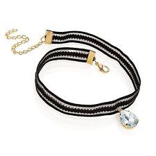 Black Elasticated Choker Necklace Diamante Teardrop