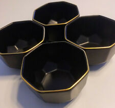 "Four (4) NATE BERKUS 4"" Black-Faceted BOWLS Porcelain - Gold Edge - RETIRED"
