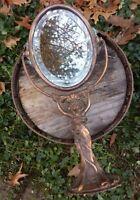 Antique 1900 Bronze Art Nouveau Oval Beveled Mirror Woman Figural Sculpted Form