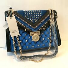 River Island Navy Blue Chain Shoulder Straps Studded Quilted Small Bag