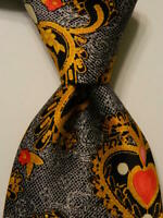 CHRISTIAN LACROIX Silk Necktie ITALY Luxury PAISLEY HEARTS Blue/Yellow PERFECT