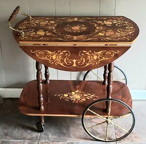 Vintage/Antique Italian Inlaid Marquetry Wood Serving Bar & Tea Cart Drop Leaf