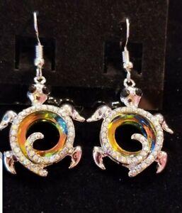 Gorgeous Sparkling Carved Titanium Crystal  & Rhinestone Turtle Hook Earrings