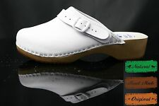 size 6 UK / 39 EU Women's Men's wooden clogs, swedish style , WHITE  leather