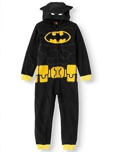 New Lego Batman Boys 1-Piece Hooded Fleece Union Suit 8