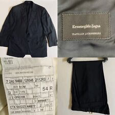 Ermenegildo Zegna Traveller Micronsphere Black Striped 2 Button Suit US 46R