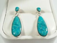 "925 STERLING SILVER SMALL TEARDROP DESIGN TURQUOISE 1 1/8"" x 3/8"" POST EARRINGS"