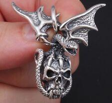 17G Dragon Vampire Skull Snake Wings 925 Sterling Solid Silver Mens Pendant