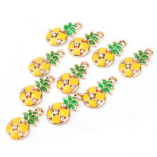 Pineapple Fruit Enamel Charms Beads Pendants Craft DIY Jewelry FindingsEP