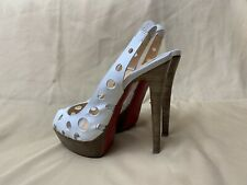 Authentic White CHRISTIAN LOUBOUTIN Ginza 140 Slingback Heels in size 37