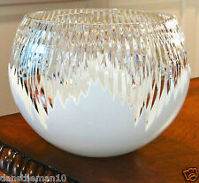 "FABERGE GLACON ANTARCTICA 8""H  CENTERPIECE ROSE BOWL OPAL CASED CRYSTAL"