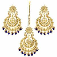 Traditional Head Jewellery Gold Plated Kundan Maang Tikka Earring Set Bridal