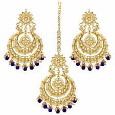 Traditional Head Jewellery Gold Plated Kundan Maang Tikka Earring Set Bridal