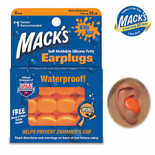 MACKS PILLOWSOFT Earplugs For KIDS - Silicone Sleep & Swim 6 Pairs - FREE UK P&P
