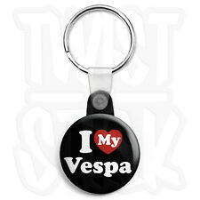 I Love My Vespa Keyring Button Badge - 25mm Heart Keyrings with Zip Pull Option