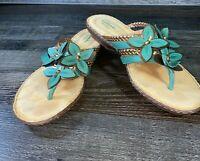 Womens Clarks Artisan Size 8 M Sandals  Flip Flops Flower Leather Teal