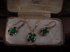 Vintage Peridot & Emerald Green Square Crystal Drop Hook Earrings & Necklace Set