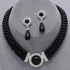 Black faux pearl jewellery diamante drop earrings necklace set PROMS 0365