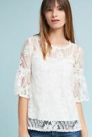 Anthropologie Blue Tassel Lace Top Large Daisy 2 piece Cream Cami Eyelet Ivory