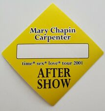 Mary Chapin Carpenter 01 Tour Satin Backstage Pass Otto Gig VIP Concert Sticker
