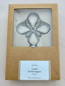NWT Pottery Barn Tabletop Silver Crystal Wine Bottle Stopper 6.5 x 3.5 (Boxed)