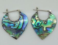 Designer Abalone Paua Shell Hoop Earrings in 925 Sterling Silver - Handmade