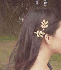 Femme Barrette Pince Cheveux Clips Epingle Feuilles Dorés Coiffure Chignon Boho