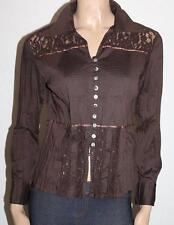 VERS Brand Brown Pleat Lace Crinkle Long Sleeve Blouse Top Size 8 BNWT #SG27