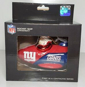 NFL New York Giants Rocket Ship Ornament  Size 5.5 x 3.5 Inches New / Box