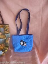 Two Dogs Embroidered Tote Bag Handmade choose three dog patterns/colors/styles