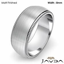 8mm Men Wedding Band Dome Milgrain Edge High Polish Ring Platinum 17.8g 11-11.75