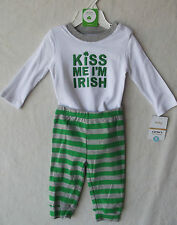 """Carter's Baby """"Irish"""" White/Green 2PC Outfit Playwear Set 6 Months NWT B5106"""