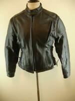 Womens L Xelement USA Leather Motorcycle Jacket Cafe Racer  Racing Black Leather