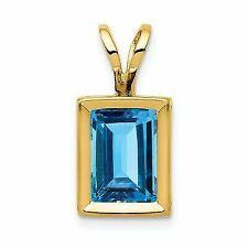 14k Yellow Gold 7x5mm Emerald Cut Blue Topaz Bezel Pendant