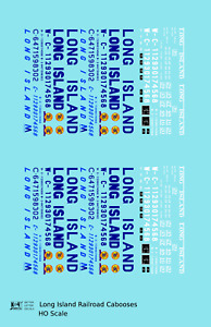 K4 HO Decals Long Island Railroad Caboose Blue and White