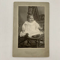 Antique Cabinet Card Photo Adorable Happy Baby Wooster OH ID Edna Berkey Groetz