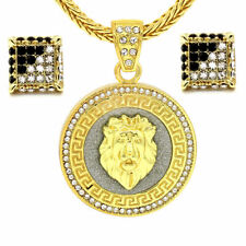 "Franco Chain 30"" Fully Cz Earrings Set Lion King Pendant 14k Gold Plated Hip-Hop"