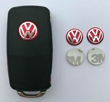 2 x VW Remote Key Fob Button Badge Emblem Sticker Logo Replacement 14mm - Red