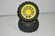08010Y Paire Roues Complet CAMION 1/10 Himoto Hexagone 12mm Cercle Jaune