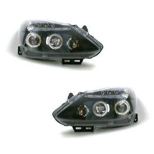 Vauxhall Corsa D Mk3 2006-2011 Black Projector Halo Angel Eyes Headlights Lamps