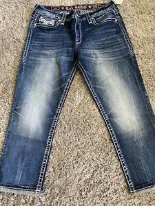 """NEW NICE!! Rock Revival """"Lam"""" Easy Crop Embellished  Jeans Size 34 NWT!!  Bling"""