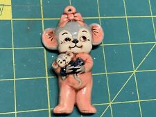 1980's Christmas Mice Mouse Ceramic Ornament handmade holding doll pink vintage