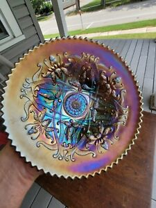 Amethyst Northwood Carnival Glass Wishbone Plate GREAT COLOR!!!