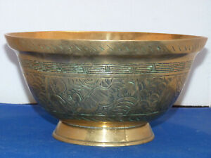 Large Signed Antique Chinese Bowl Brass Ornate Details