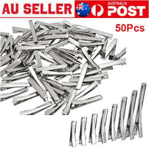 50Pcs Silver Metal Plain Hair Clips Alligator Clips DIY Hairpins Salon Barrette