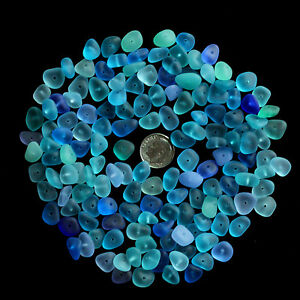 center drilled sea beach glass 20 pcs lots small blue aqua cobalt jewelry use