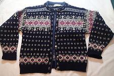 L.L.BEAN sweater nordic CARDIGAN,BLAZER,top,NORWAY, WOOL M,NAVY BLU SNOWFLAKE H
