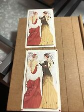 2 x Decoupage Pictures of Art Deco Lady Theme Toppers