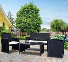 4 Pcs Patio Garden Wicker Rattan Cushioned Sofa Set Coffe Table Poolside Deck